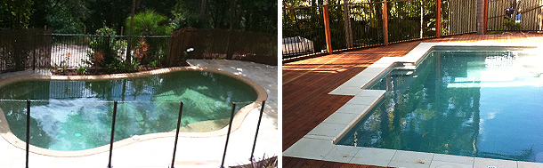 Photo of inground swimming pools installed by SEQ Spa Solutions complete with paving, coping, decking and glass pool fencing Gold Coast